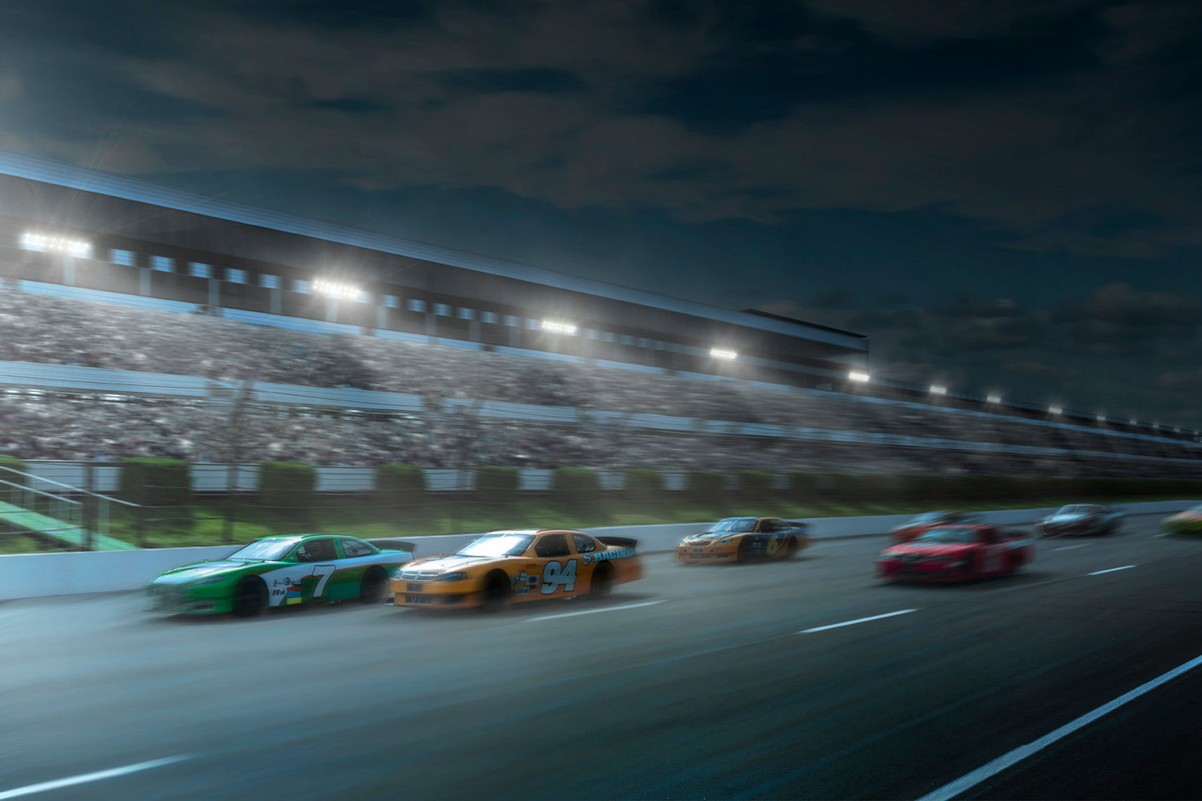 NASCAR Night Racing Scene Composite: CORBIS