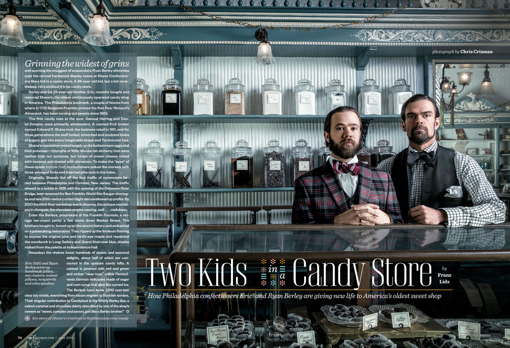 Smithsonian Magazine: Two Kids In a Candy Store. September 2013 issue - ERIC and RYAN BERLEY
