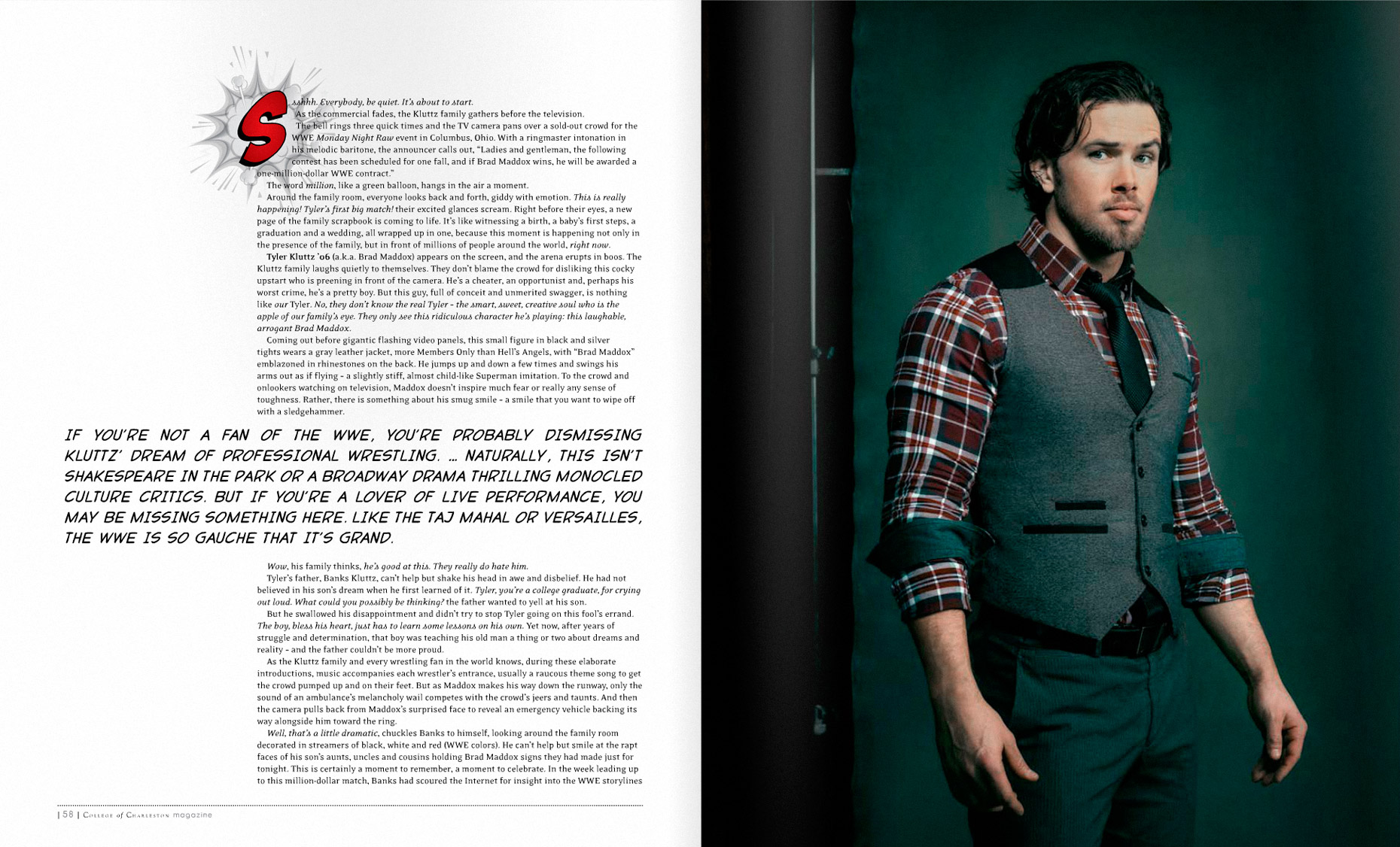College Of Charleston Magazine - INTO THE RING - SPRING 2014 - Spread 1: Brad Maddox -  photographer Jason Myers
