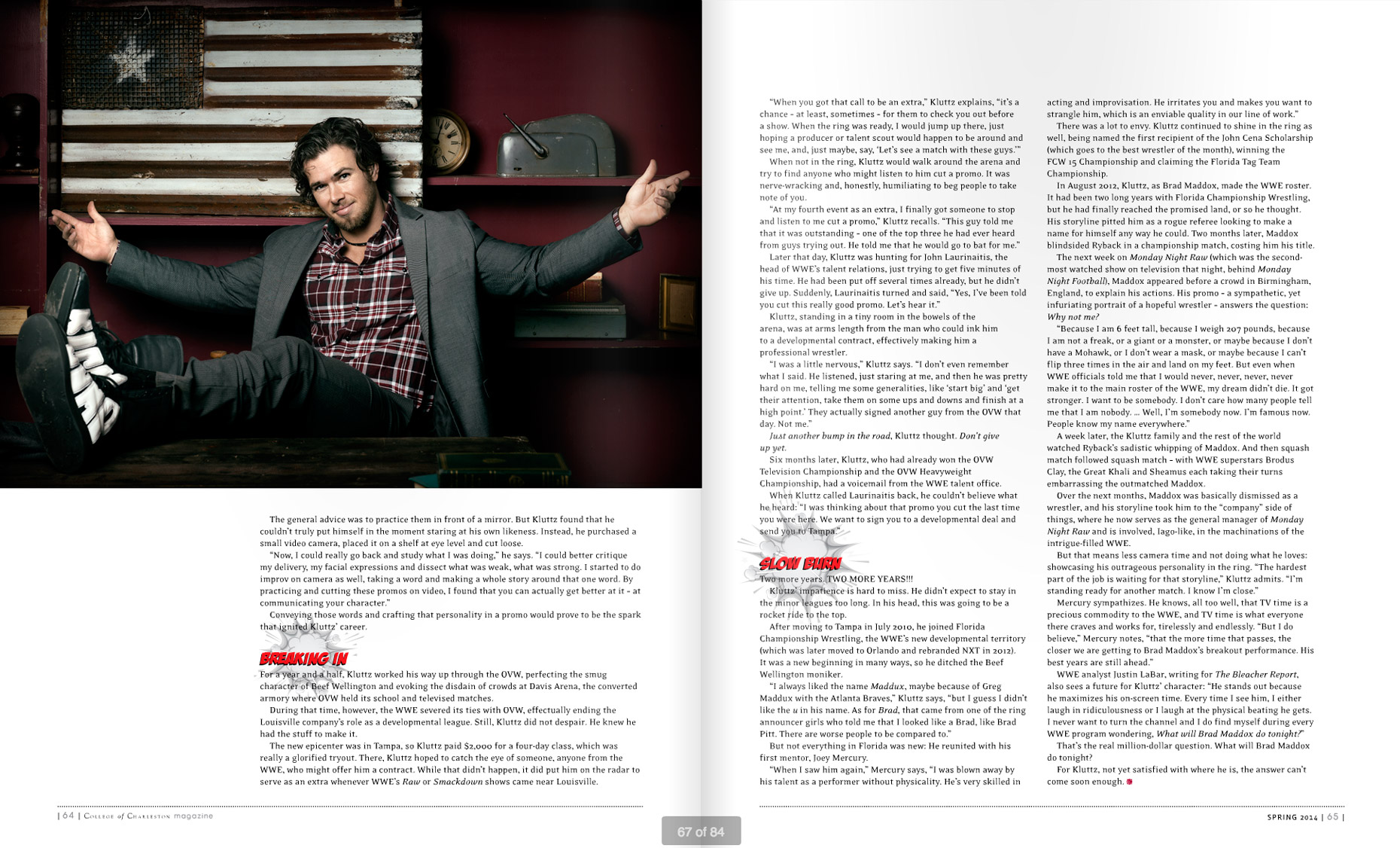 College Of Charlston Magazine - INTO THE RING - SPRING 2014 - Spread 2: Brad Maddox -  photographer Jason Myers