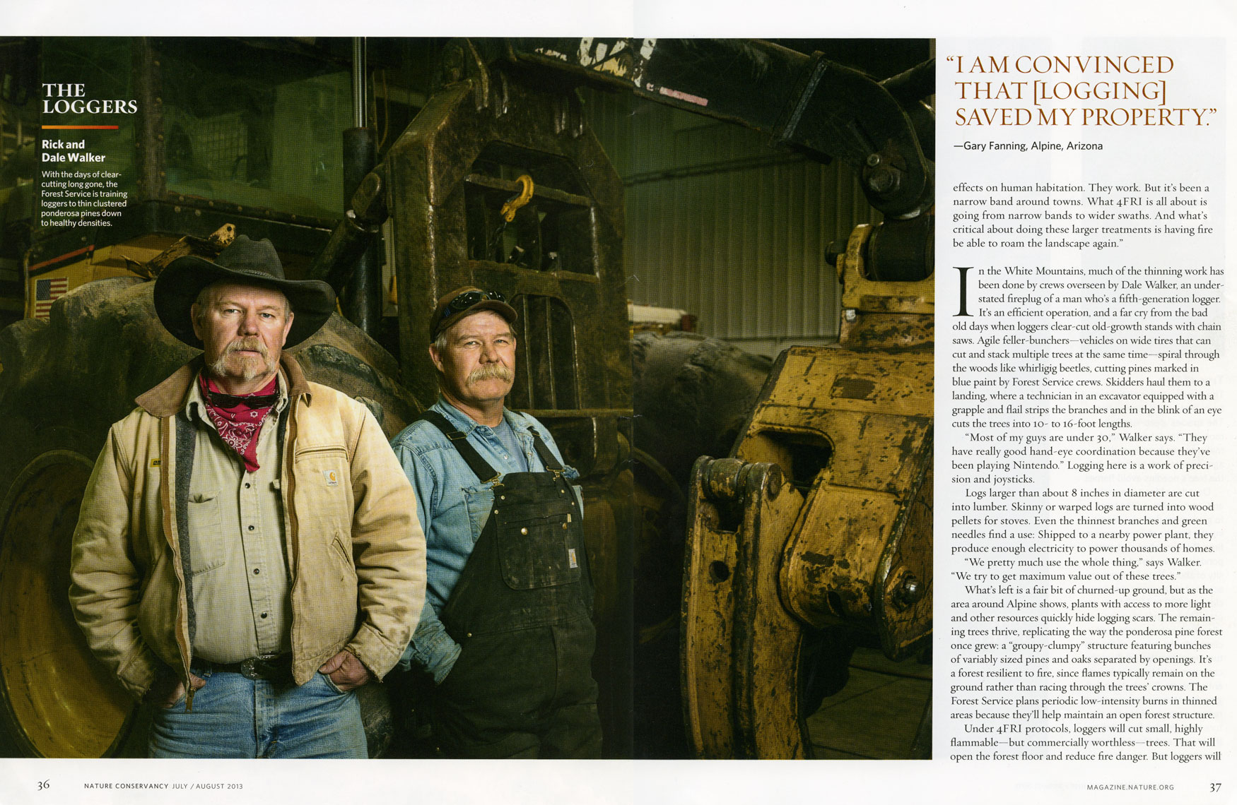 Nature Conservancy: The Loggers. SPREAD 3: RICK AND DALE WALKER