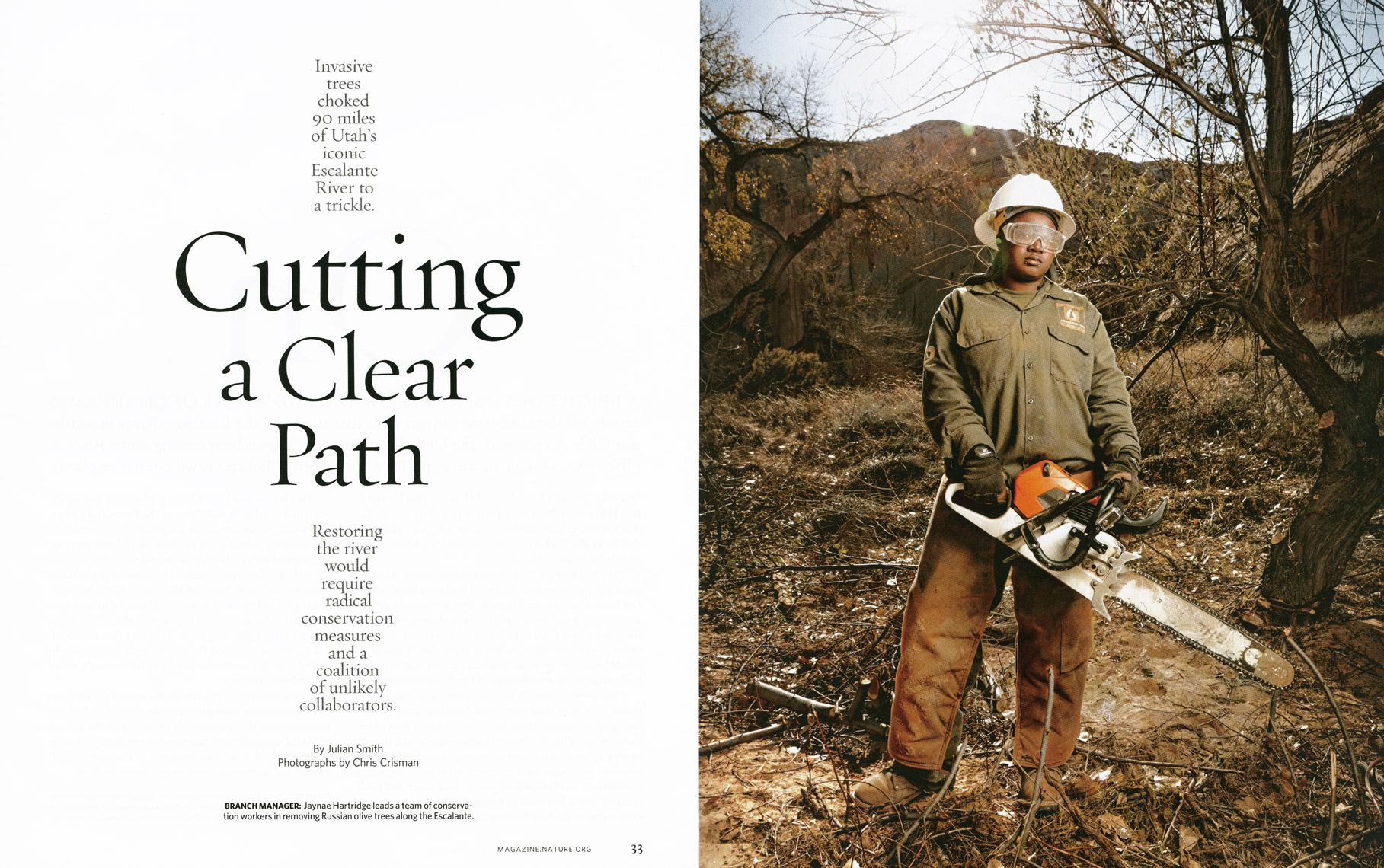 Nature Conservancy Magazine - Cutting A Clear Path Feature - Opener - April/May 2014