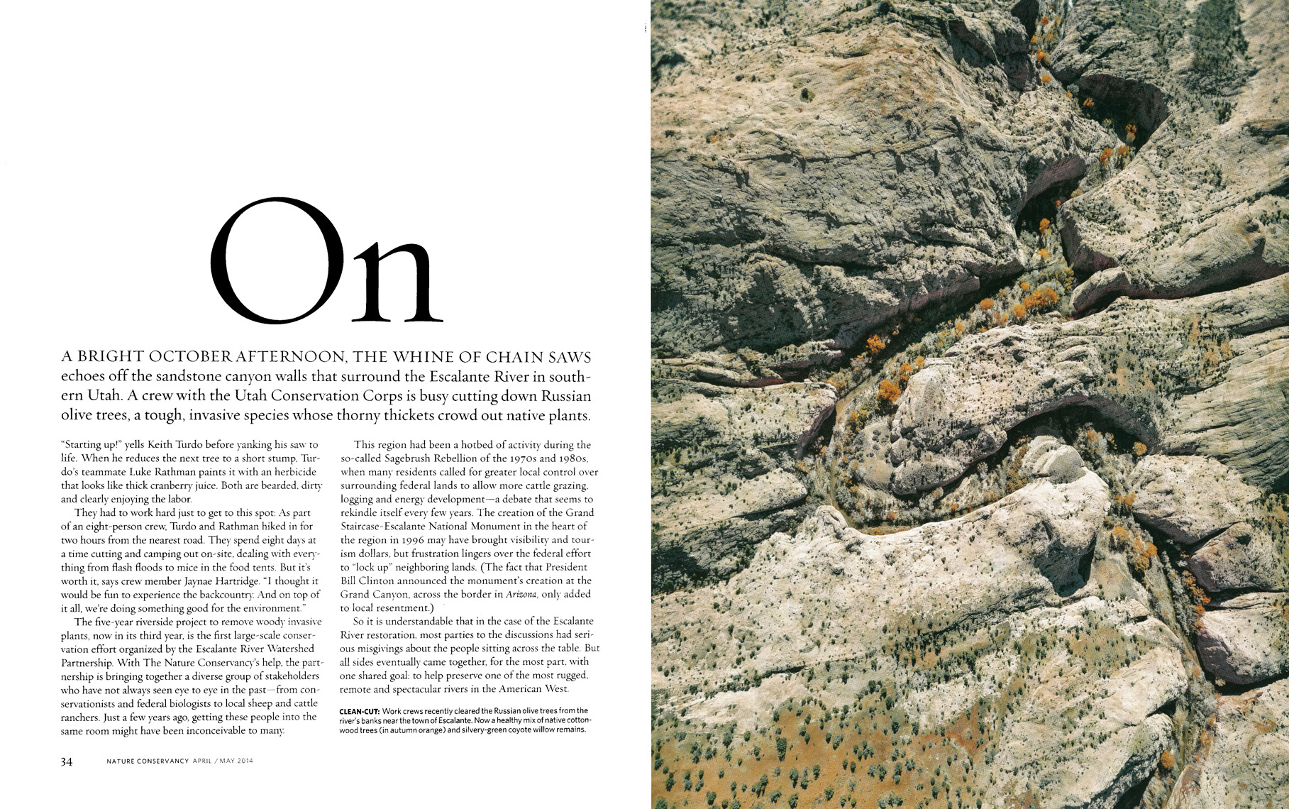 Nature Conservancy Magazine - Cutting A Clear Path Feature - Spread 3 - April/May 2014