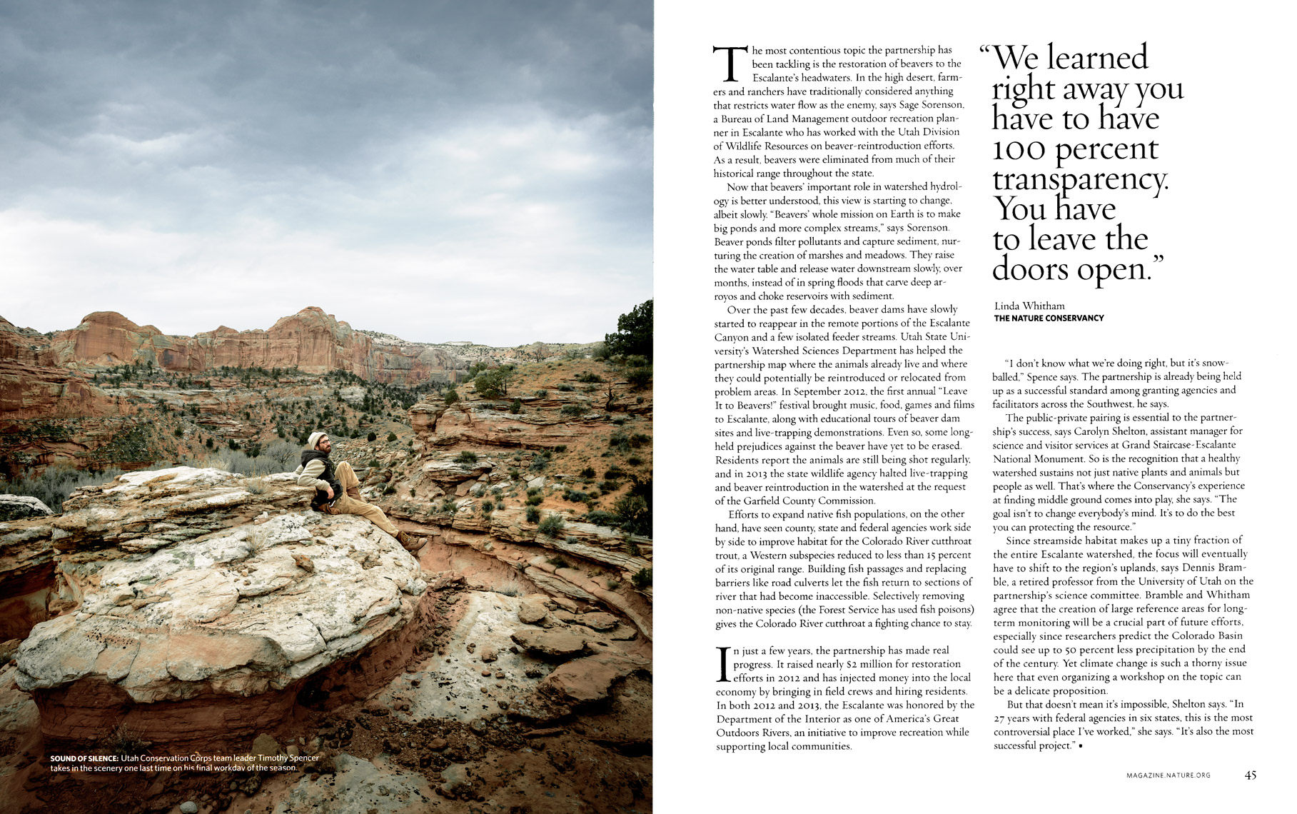 Nature Conservancy Magazine - Cutting A Clear Path Feature - Spread 7 - April/May 2014