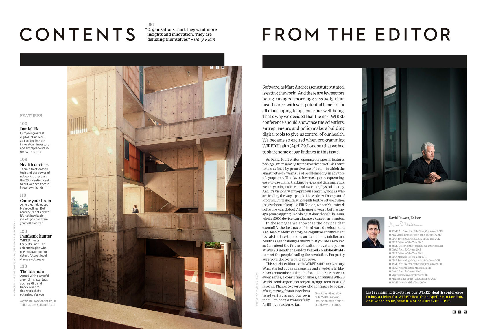 Paula Tallal at the Salk Institute(left) and Adam Gazzaley(right) for Wired UK May 2014 issue