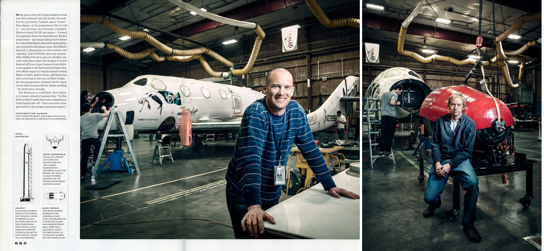 WIRED UK: BRANSON GOES GALACTIC: Matt Stinemetze and Jim Tighe. March 2013 issue - SPREAD 11 and 12