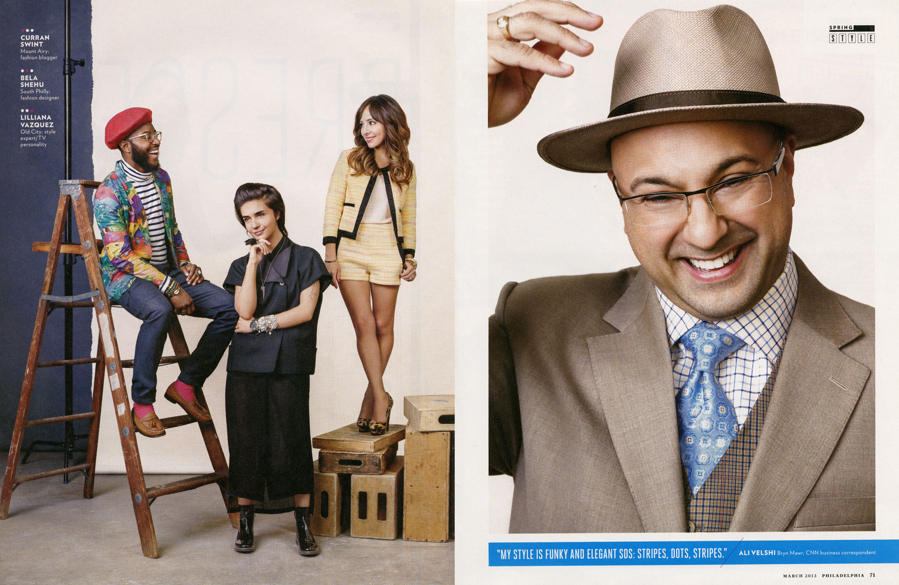Philadelphia Magazine: FASHION: The Best Dressed List: Curran Swint, Bela Shehu, Lilliana Vazquez and Ali Velshi.  March 2013 issue