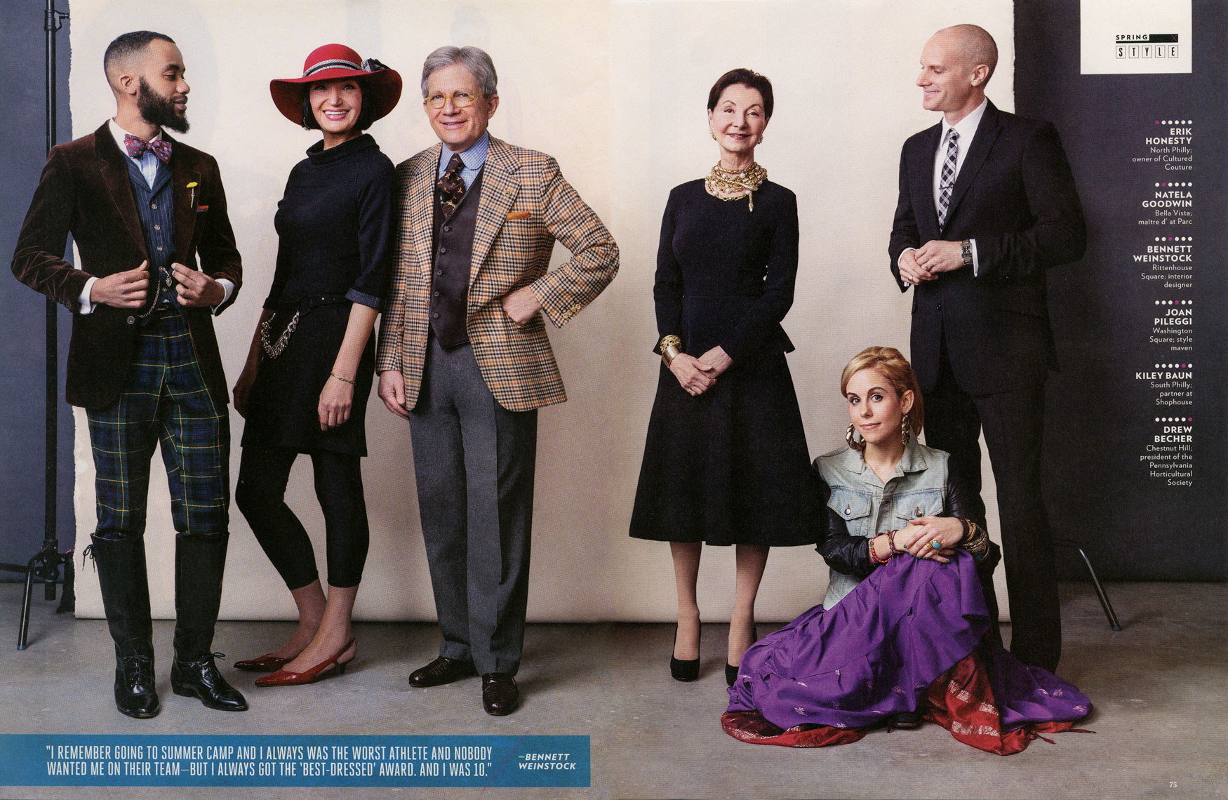 Philadelphia Magazine: FASHION: The Best Dressed List: Erik Honesty, Natela Goodwin, Bennet Weinstock, Joan Pileggi, Kiley Baun, Drew Becher.  March 2013 issue