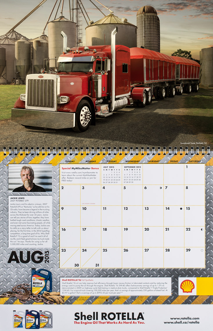 2015 Shell Rotella SuperRigs Calendar - August- Photographer Chris Crisman