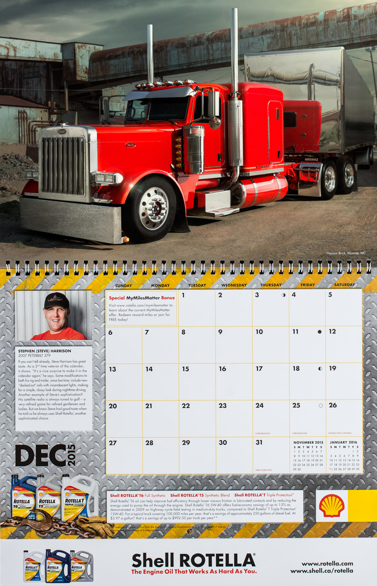 2015 Shell Rotella SuperRigs Calendar - December- Photographer Chris Crisman