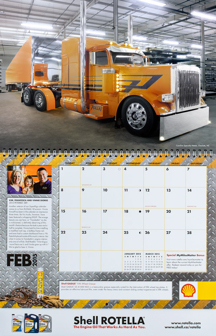 2015 Shell Rotella SuperRigs Calendar - February- Photographer Chris Crisman