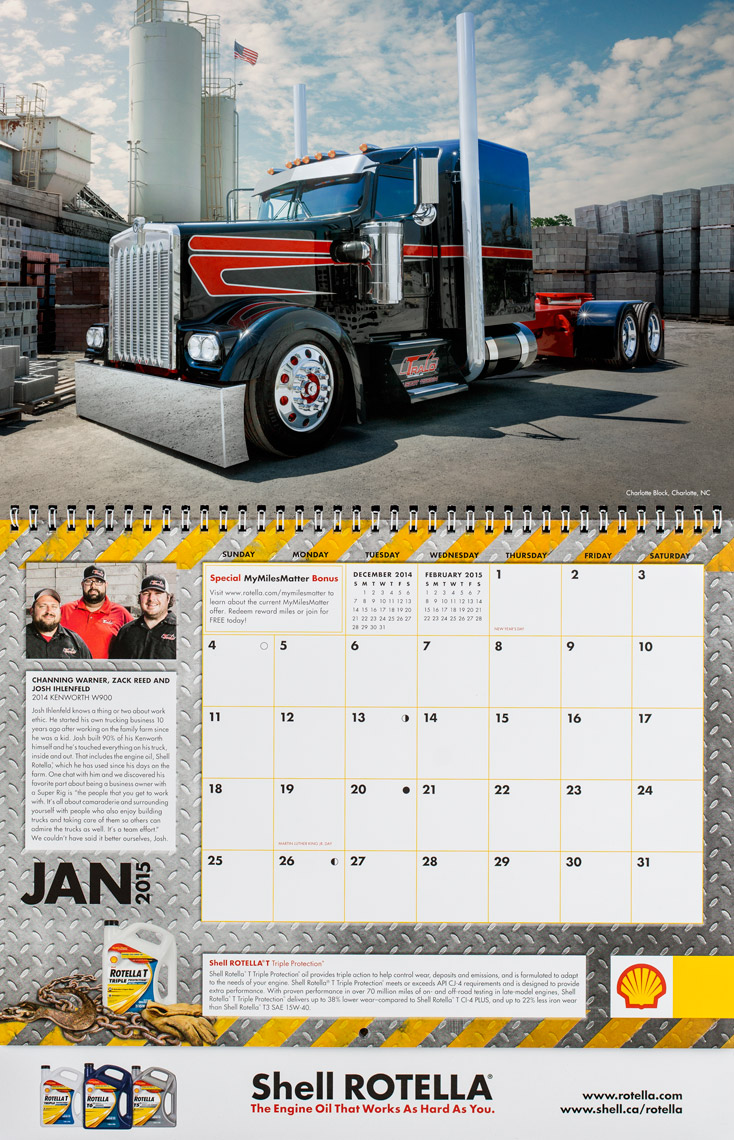 2015 Shell Rotella SuperRigs Calendar - January- Photographer Chris Crisman