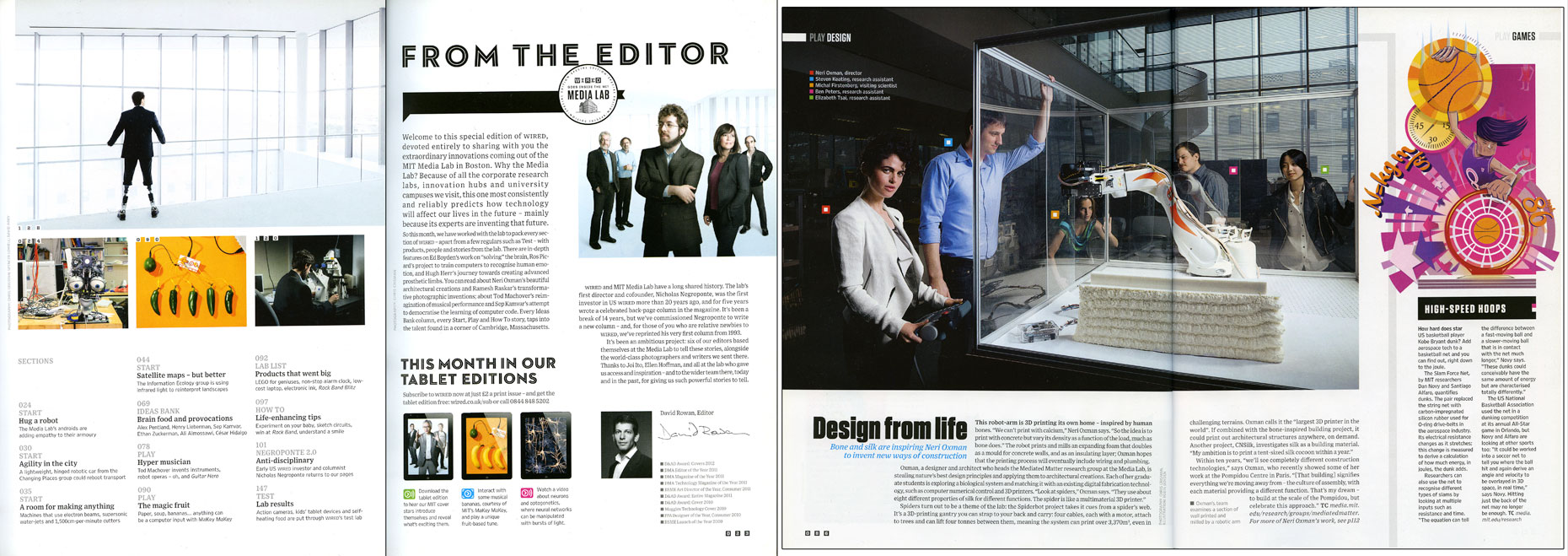 WIRED UK: The MIT MEDIA LAB. November 2012 issue  - SPREAD 1 and 2: Hugh Herr and Neri Oxman