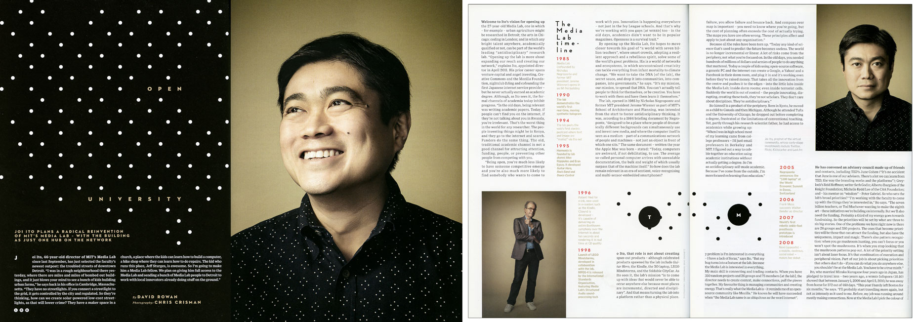 WIRED UK: The MIT MEDIA LAB. November 2012 issue  - SPREAD 3 and 4: Joi Ito