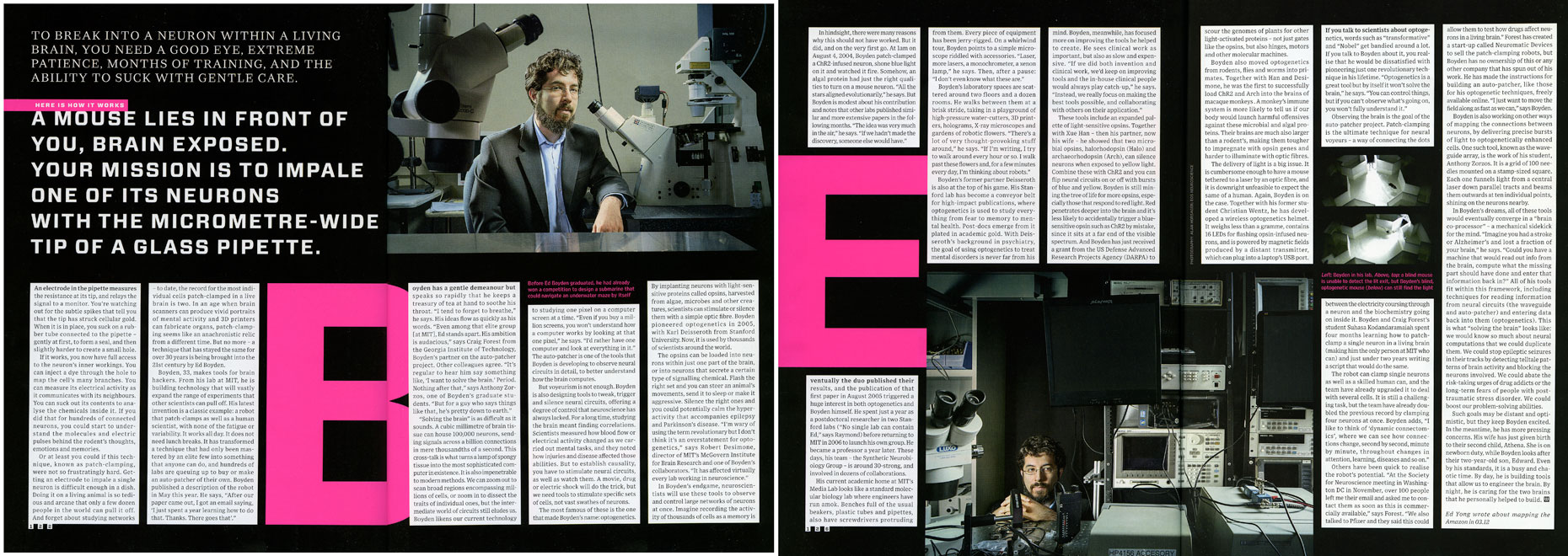 WIRED UK: The MIT MEDIA LAB. November 2012 issue  - SPREAD 5 and 6: Ed Boyden