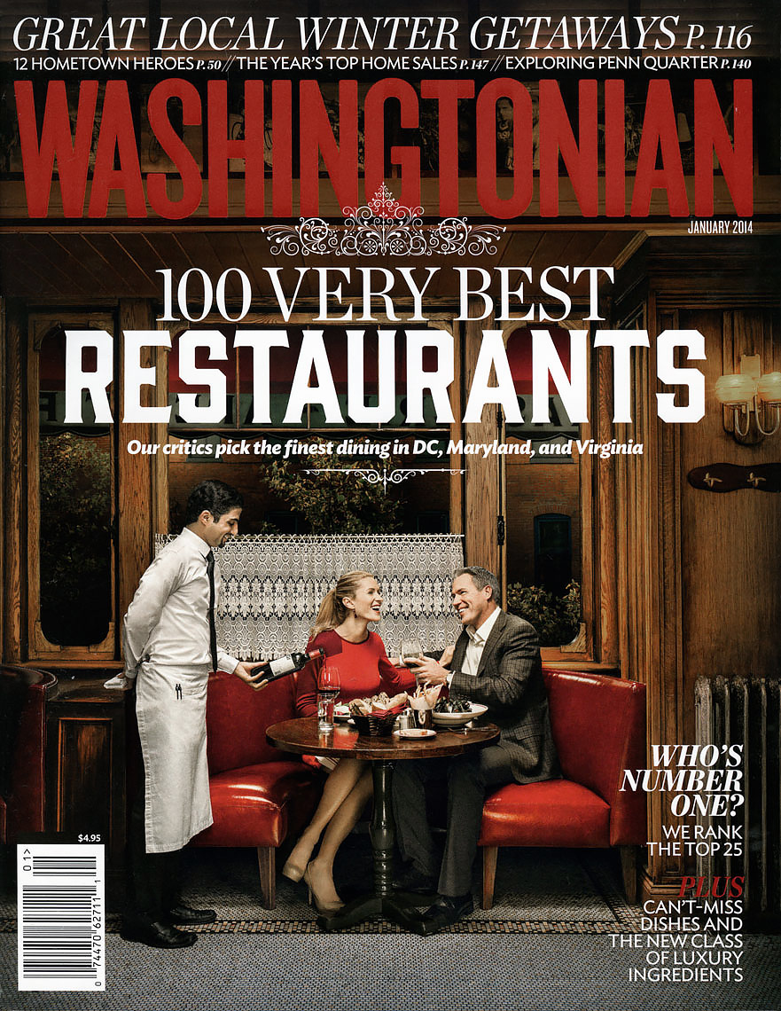 Washingtonian Magazine Cover: 100 Very Best Restaurants. January 2014 issue