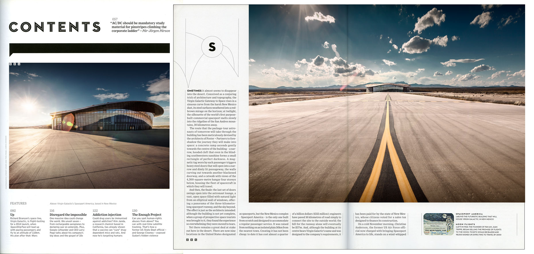 WIRED UK: BRANSON GOES GALACTIC: Spaceport. March 2013 issue - TOC and SPREAD 1