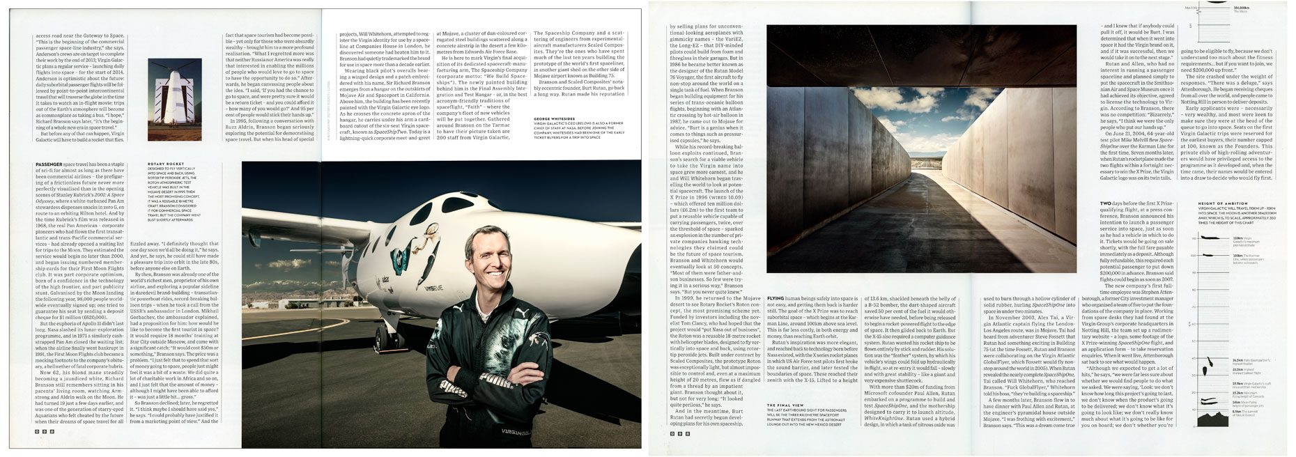 WIRED UK: BRANSON GOES GALACTIC: George Whitesides. March 2013 issue - SPREAD 3 and 4