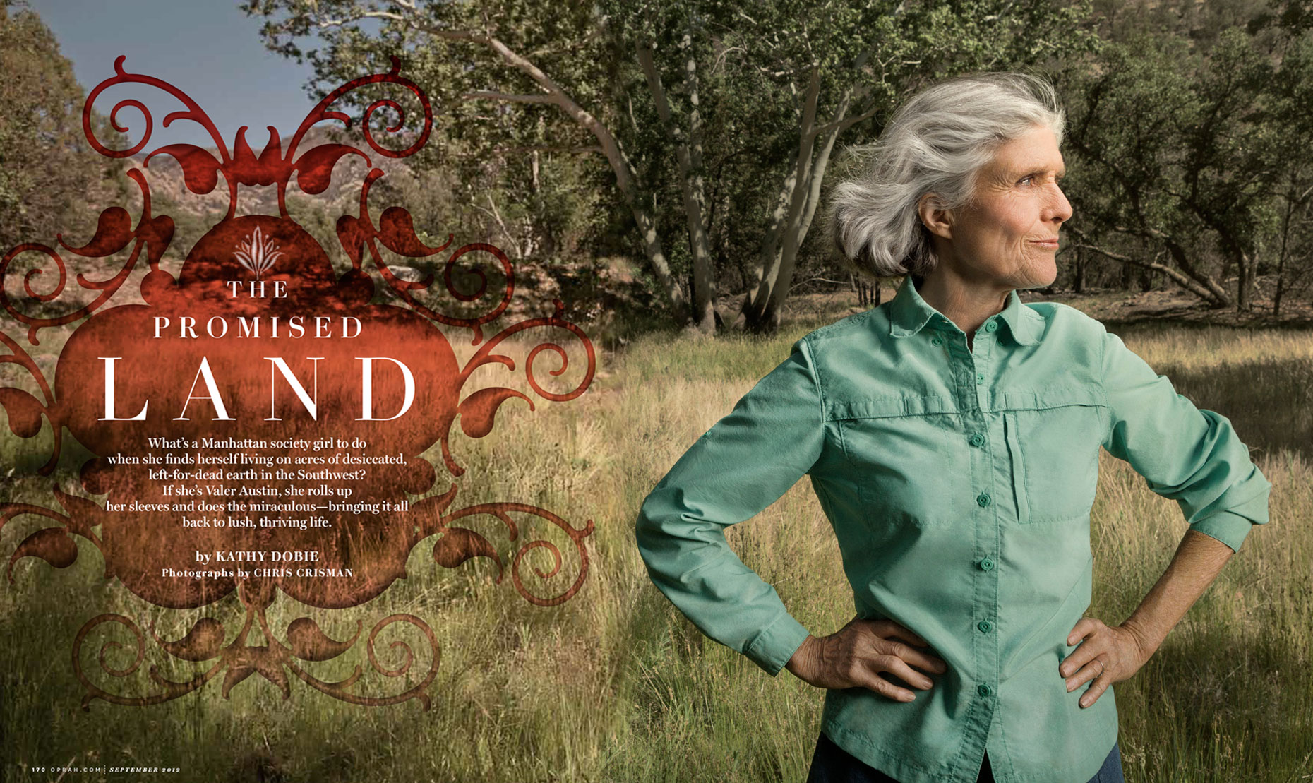 O: The Oprah Magazine: The Promised Land feature: VALER AUSTIN. September 2012 issue