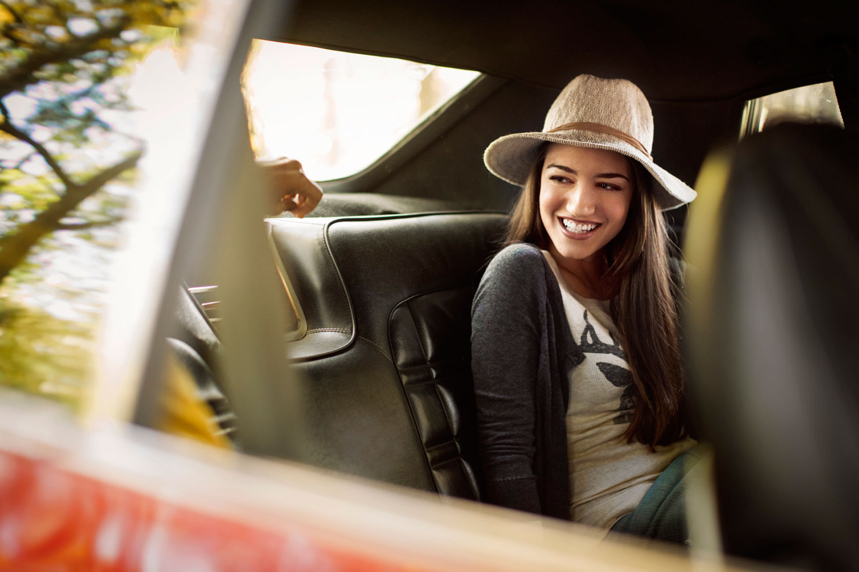 Fall Lifestyle: Young Woman in the Car Portrait: CORBIS