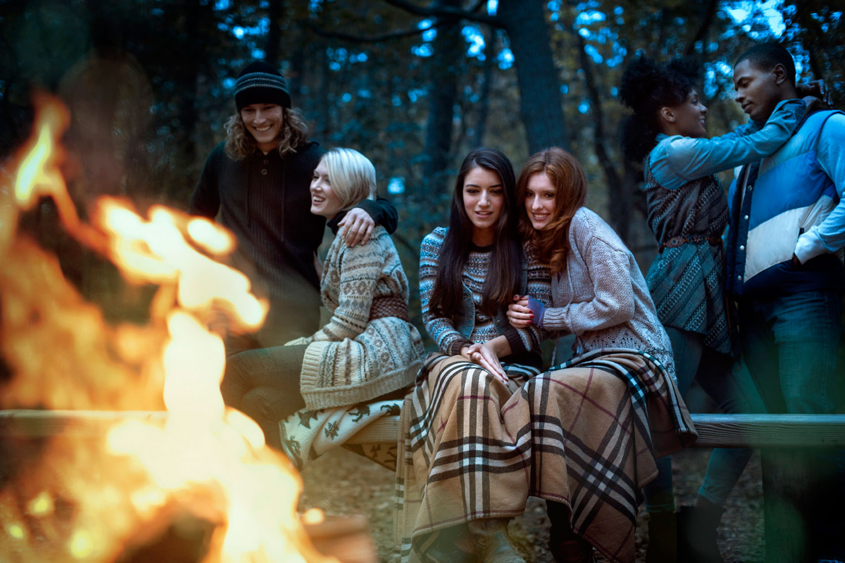 Fall Lifestyle: Young Women Night Portrait: CORBIS